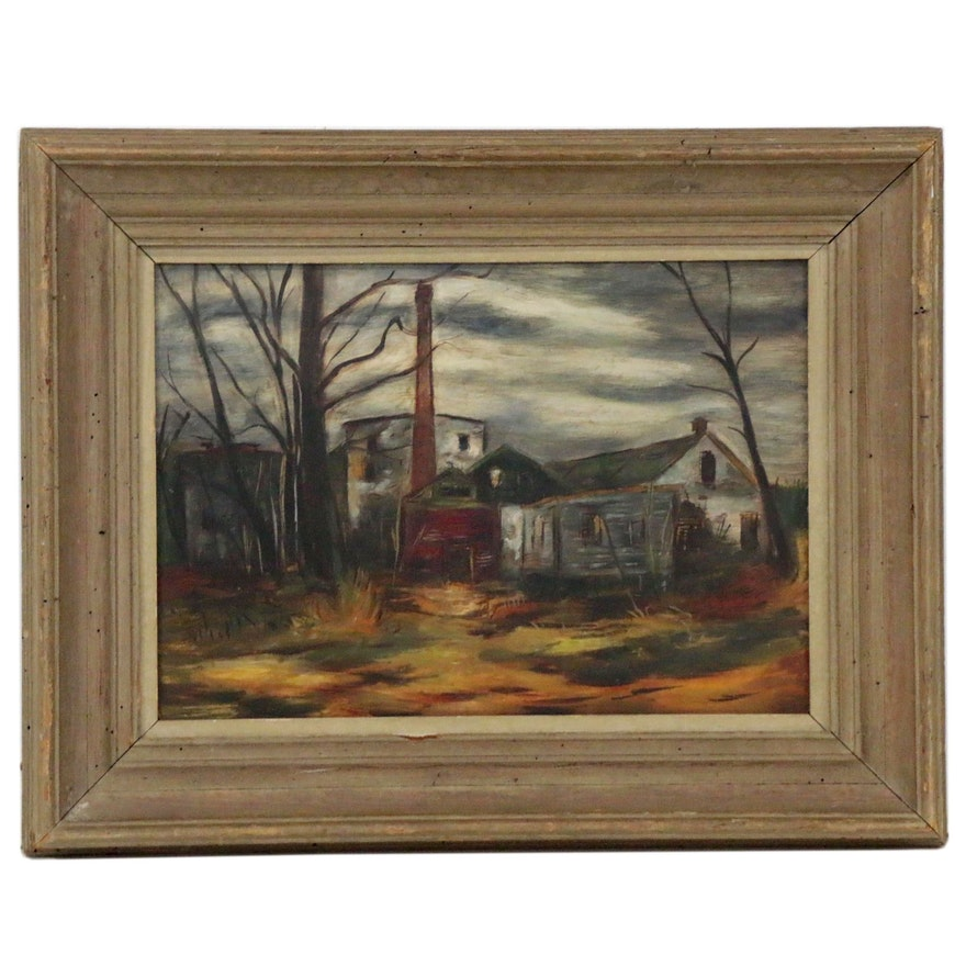 Landscape Oil Painting of Homestead, Early-Mid-20th Century