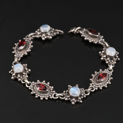 Sterling Rainbow Moonstone and Garnet Bracelet