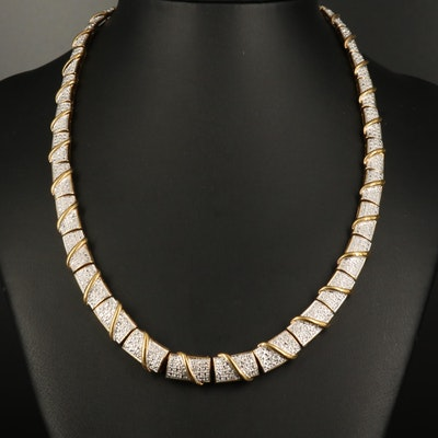Sterling Diamond Graduated Panel Necklace