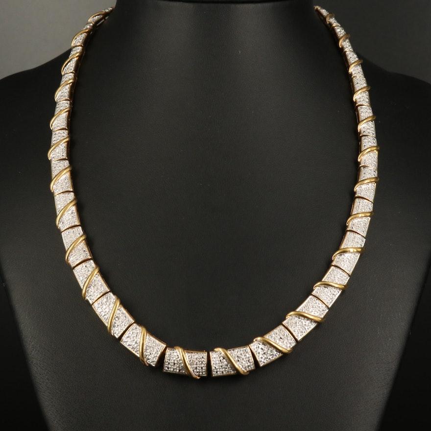 Sterling Diamond Graduated Panel Necklace