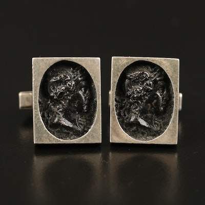 Vintage Fenwick & Sailors Sterling Cufflinks Depicting Roman Deity Mercury