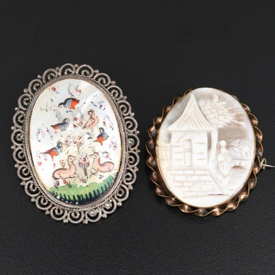 Antique Mother of Pearl Painted Converter Brooch and Vintage Shell Cameo Brooch
