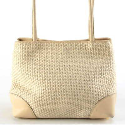 Bottega Veneta Woven Jute and Beige Leather Shoulder Bag