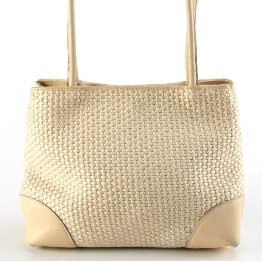 Bottega Veneta Woven Jute and Beige Leather Shoulder Bag