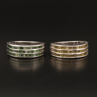 Sterling 1.50 CTW Yellow and Green Diamond Bands