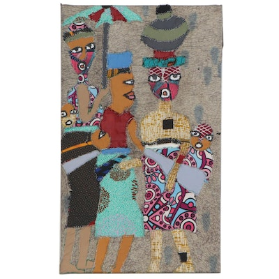 "Kayode Buraimoh Mixed Media Patchwork Textile ""Glorious Women,"" 2014"