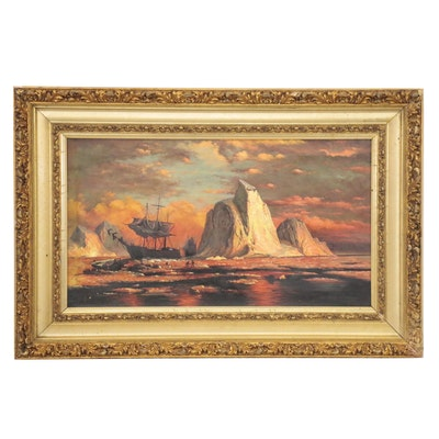 Seascape Oil Painting of Ships at Dusk, Early 20th Century