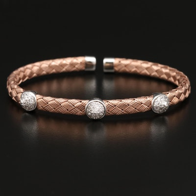 Sterling Silver Cubic Zirconia Woven Cuff