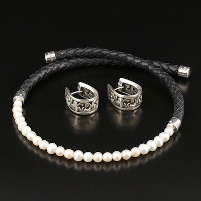 Sterling Silver Openwork Hoop Earrings with Pearl and Leather Choker Necklace