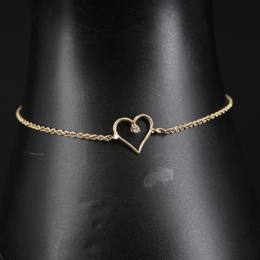 14K Diamond Heart Bracelet