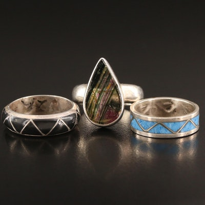 Sterling Silver Agate and Glass Teardrop and Inlay Rings