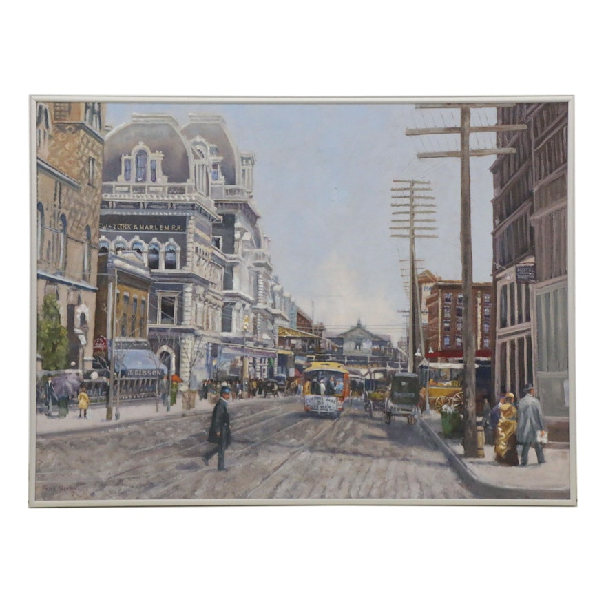 Fritz Keck Oil Painting of Historic New York with Street Cars, 21st Century