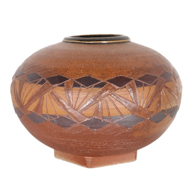 Steve Burrow Stoneware Vase, 1985