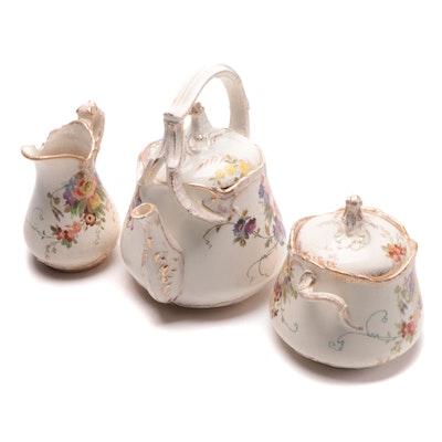 Royal Bonn Germany Porcelain Teapot, Creamer, and Sugar, Late 19th/Early 20th C.