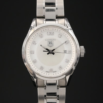 "TAG Heuer ""Carrera"" Wristwatch with Mother of Pearl and Diamond Dial"