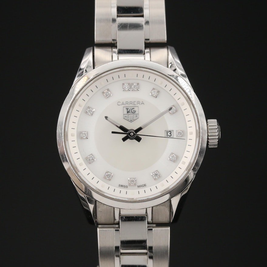 """TAG Heuer """"Carrera"""" Wristwatch with Mother of Pearl and Diamond Dial"""