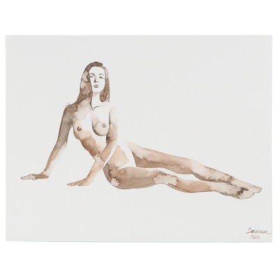 Anastasija Serdnova Watercolor Painting of a Nude, 2020