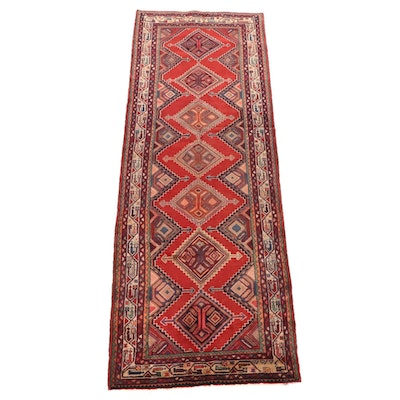 3'11 x 11'1 Hand-Knotted Persian Hamadan Chenar Wool Long Rug
