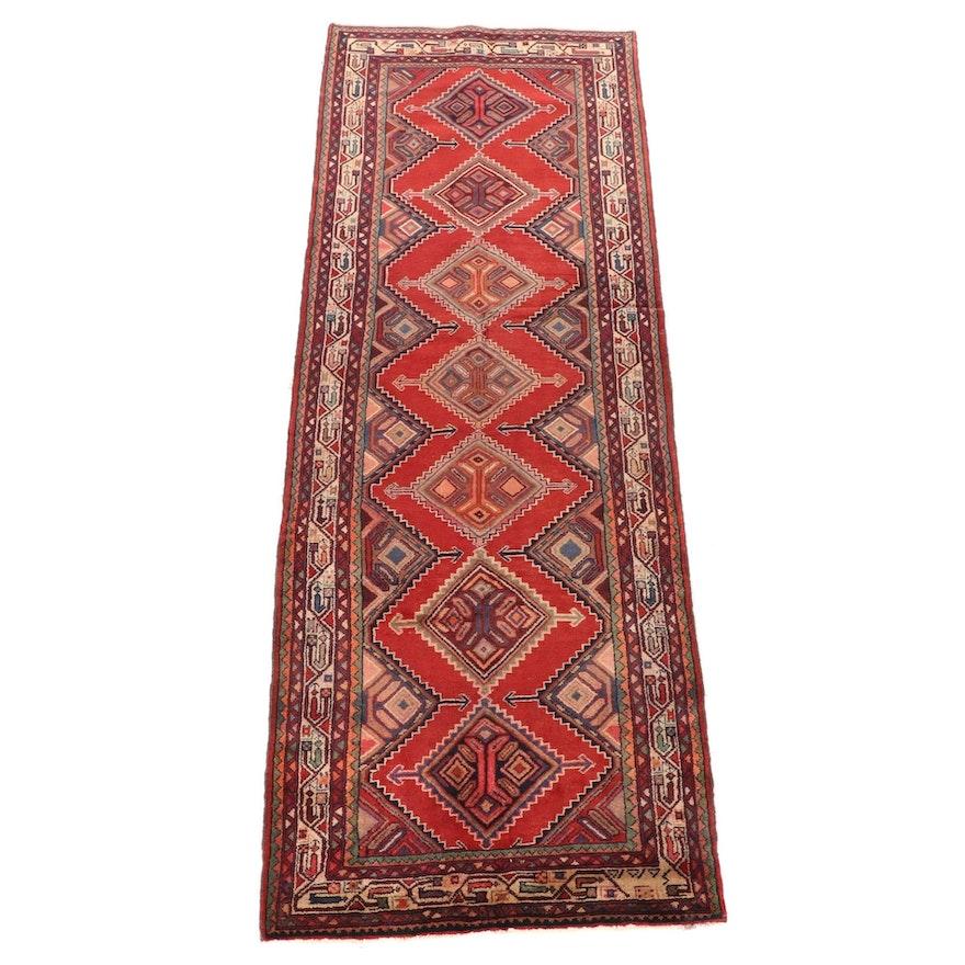 3'11 x 11'1 Hand-Knotted Persian Hamadan Chenar Wool Long Rug