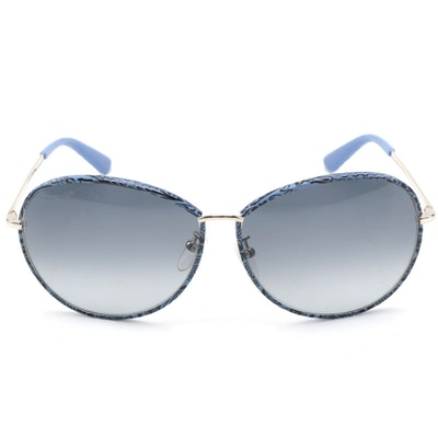 ETRO ET101SK Blue Paisley and Silver Tone Metal Frame Sunglasses