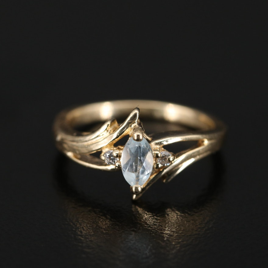 14K Topaz and Diamond Bypass Ring