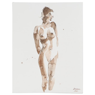 Anastasija Serdnova Watercolor Painting of Standing Nude, 2020