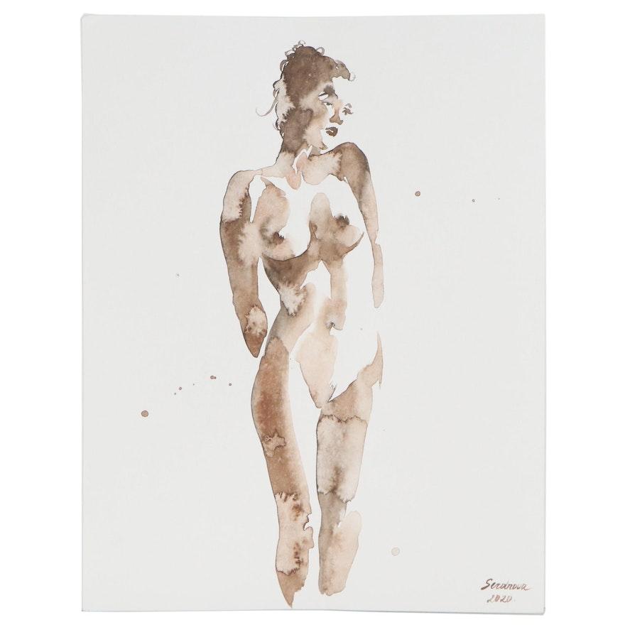 Anastasija Serdnova Watercolor Painting of Standing Nude, 2020