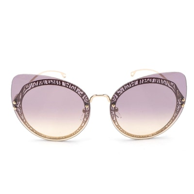ETRO ET114SC Rimless Cat Eye Sunglasses with Pink and Yellow Gradient Lenses