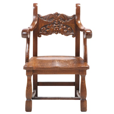 "American Quartersawn Oak ""North Wind"" Armchair, Early 20th Century"