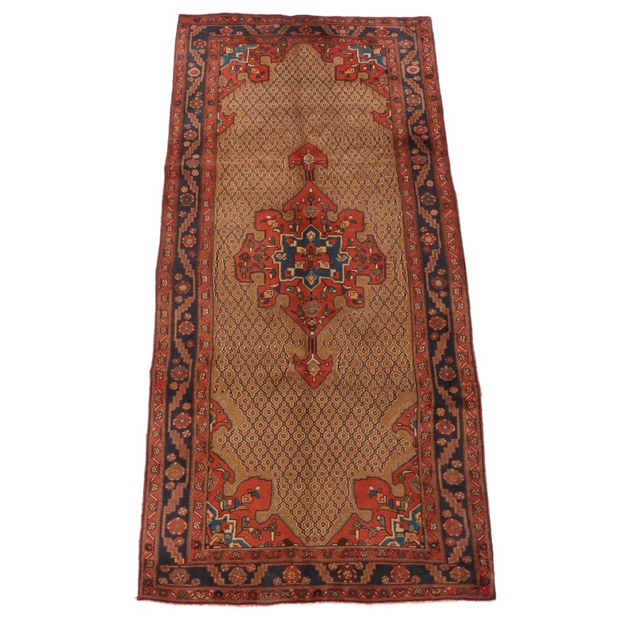 4'8 x 10'6 Hand-Knotted Persian Kurdish Wool Rug