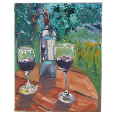 "Patricia Nolan-Brown Oil Painting ""Wine for 2 Alfresco"""