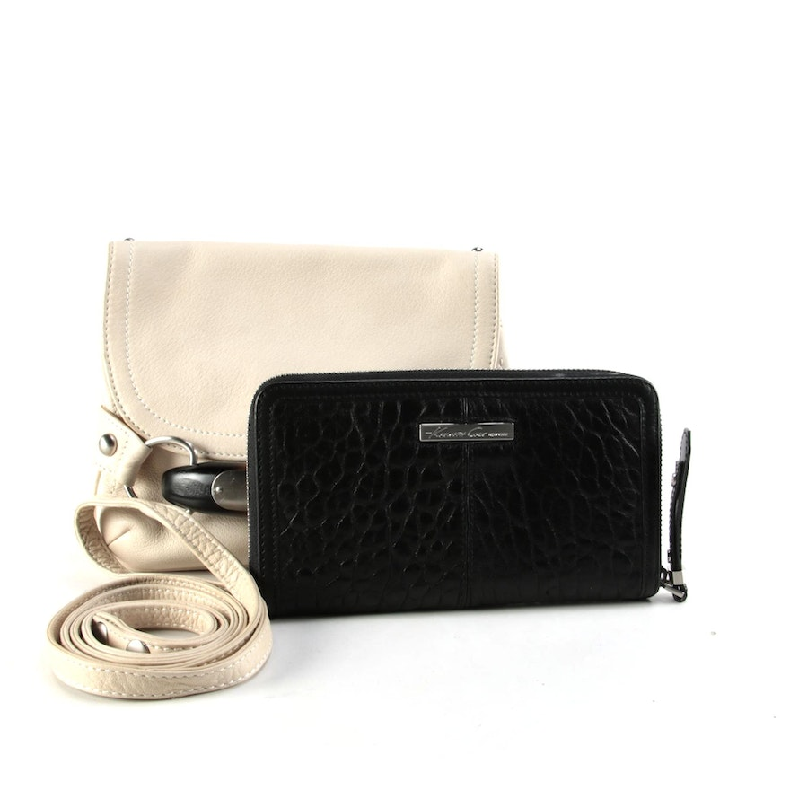 B. Makowsky Beige Leather Clutch and Kenneth Cole Black Leather Zipper Wallet