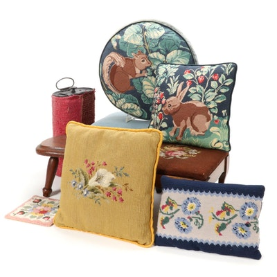 Cross Stitch and Needle Point Accent Pillows and Foot Stools, Mid-20th Century