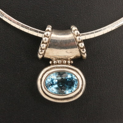 Sterling Silver Topaz Slide Pendant Necklace