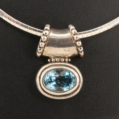 Sterling Silver Topaz Slide Pendant Necklace