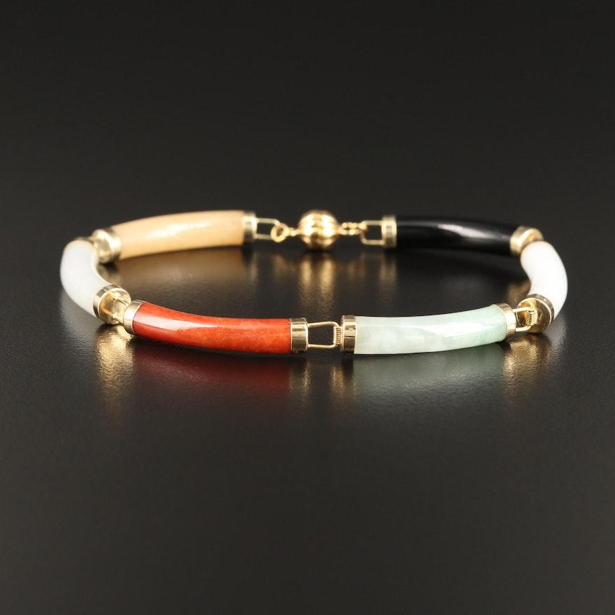 14K Jadeite and Black Onyx Bar Bracelet