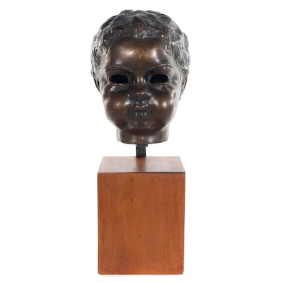 Bronze Tone Metal Bust of Child, Mid-20th Century