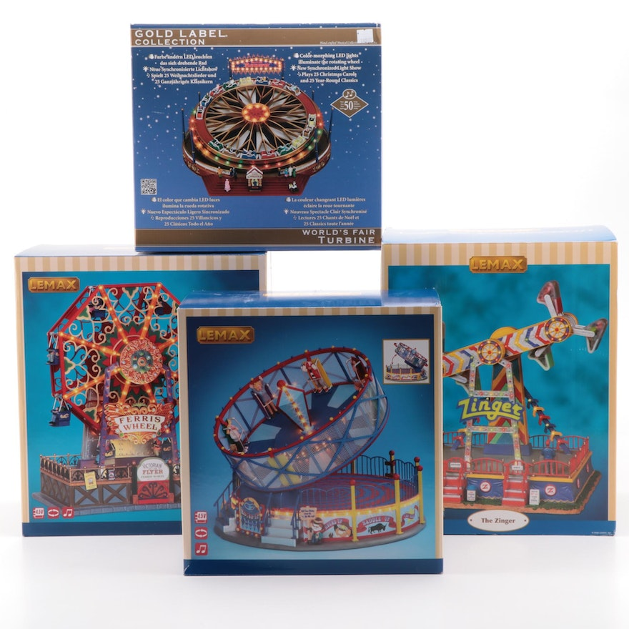 """Lemax and Gold Label Carnival Ride Figures Including """"World's Fair Turbine"""""""