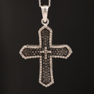 Sterling Silver Diamond Cross Pendant Necklace