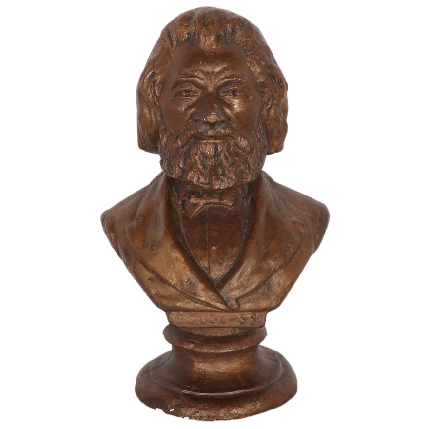 Painted Cast Plaster Bust after Isaac Scott Hathaway of Frederick Douglass