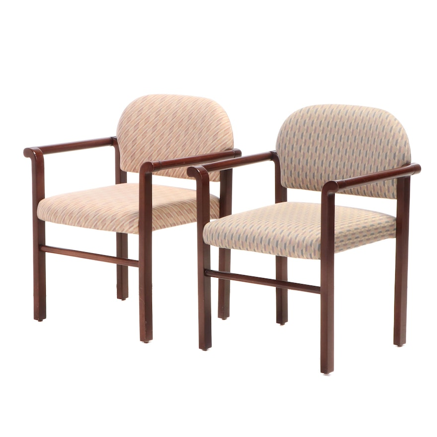 """Two Modern Mode Inc. """"Ion Stack"""" Mahogany Armchairs, dated 1987"""