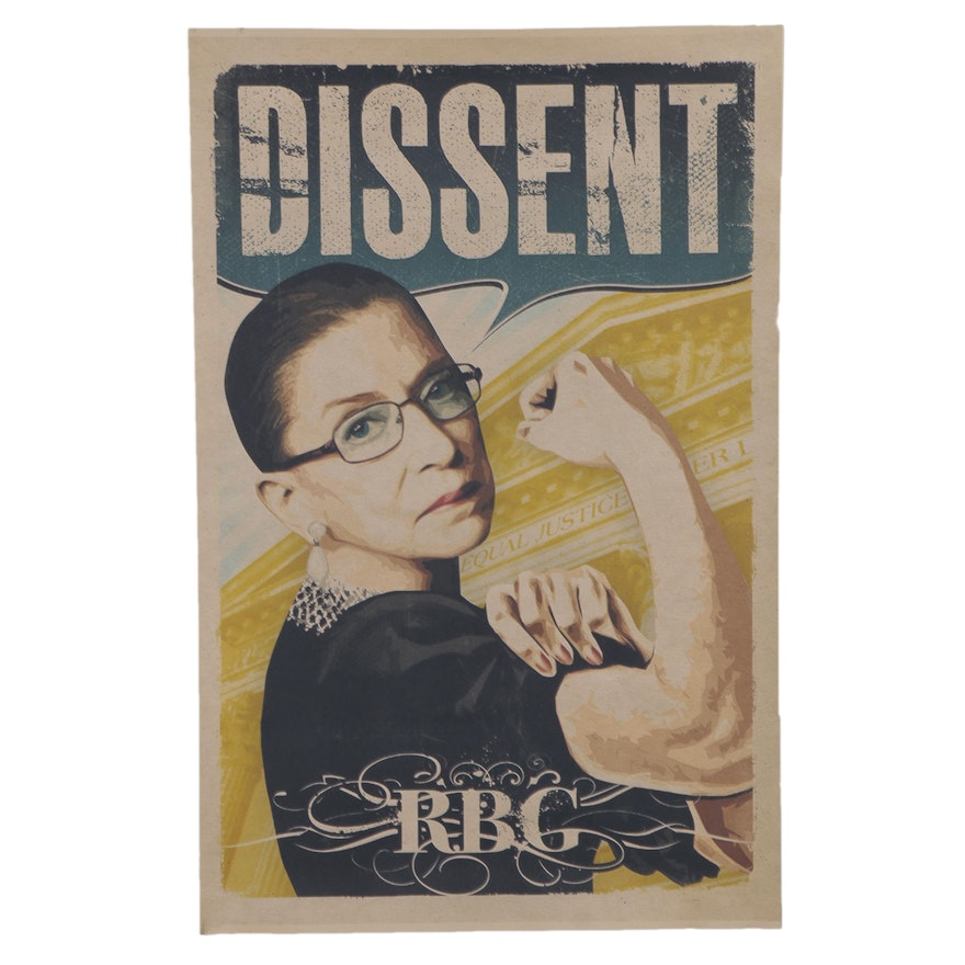 Giclée of Ruth Bader Ginsburg as Rosie the Riveter, 21st Century