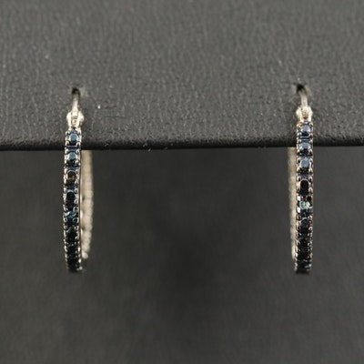 Sterling Diamond Inside Out Hoop Earrings