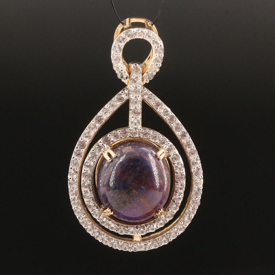 Sterling Silver Star Corundum and Sapphire Pendant