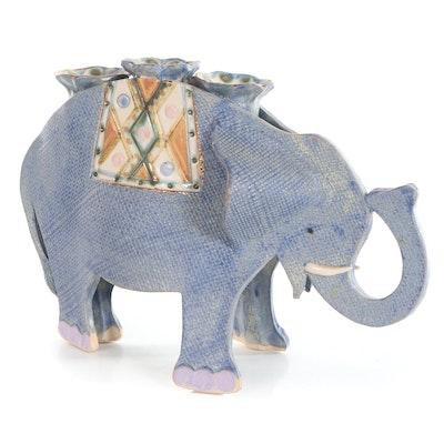 """Gail Paradise Glazed Ceramic """"Elephant Candelabra,"""" 1990"""