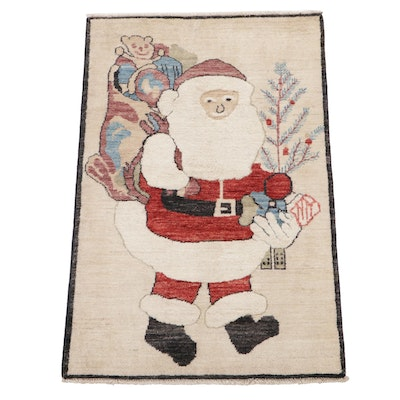 2'7 x 4'1 Hand-Knotted Afghan Santa Claus Pictorial Accent Rug