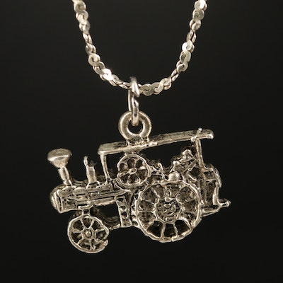 Sterling Tractor Pendant Necklace