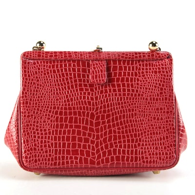 Koret Red Alligator Embossed Leather Frame Shoulder Bag