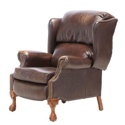 "La-Z-Boy ""Designer's Choice"" Mahogany and Brown Leather Wingback Recliner"