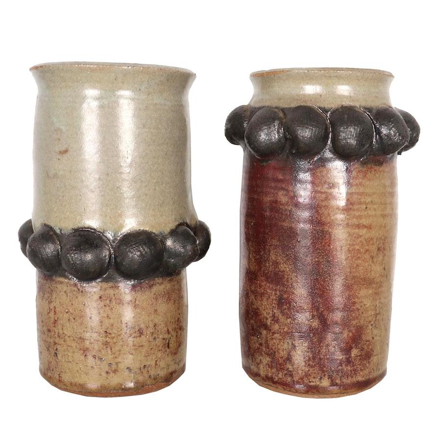 June Krutza Wheel-Thrown Stoneware Vases, Late 20th Century